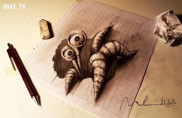 18. Con quái vật đến từ phía trong tờ giấy,Tranh 3D,Sống động