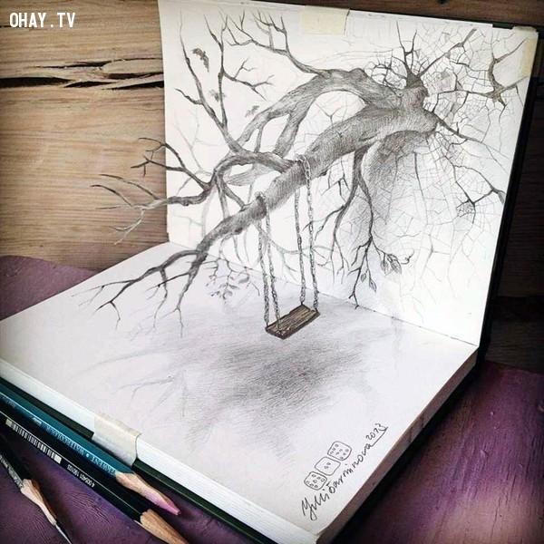 1. Xích đu treo trên cây nằm gọn trong cuốn sách,Tranh 3D,Sống động