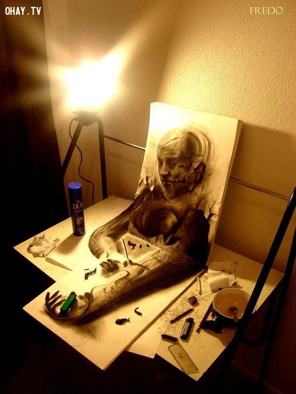 23. Bức họa thêm phần ấn tượng dưới ánh đèn,Tranh 3D,Sống động