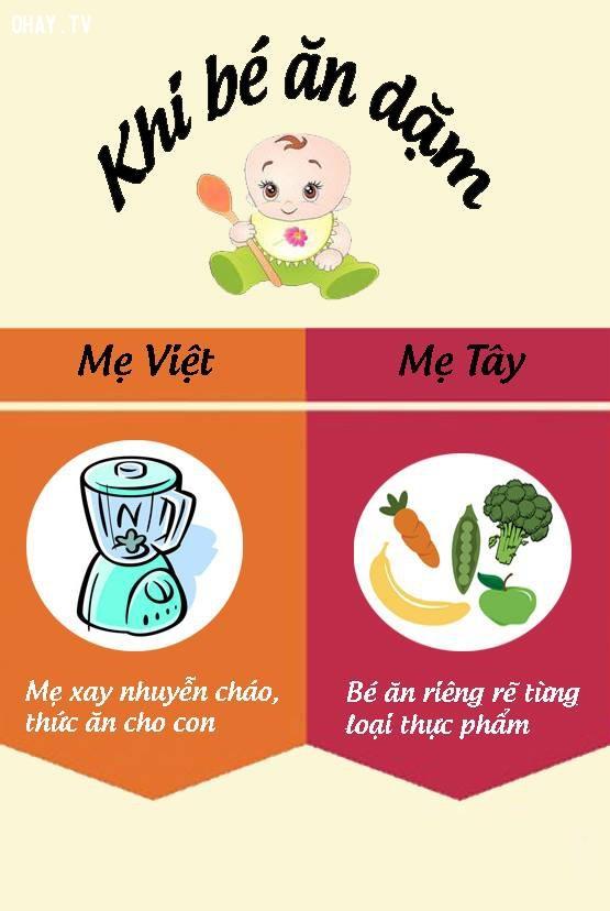3. Khi cho bé ăn dặm,nuôi dạy con cái,mẹ Việt mẹ Tây,cách nuôi dạy con,nuôi con khỏe mạnh