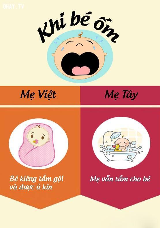 7. Cách chăm sóc con khi con bị ốm,nuôi dạy con cái,mẹ Việt mẹ Tây,cách nuôi dạy con,nuôi con khỏe mạnh
