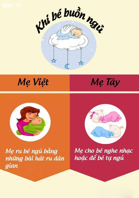 2. Khi cho con ngủ,nuôi dạy con cái,mẹ Việt mẹ Tây,cách nuôi dạy con,nuôi con khỏe mạnh