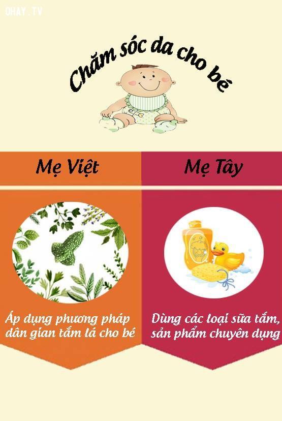 5. Khi chăm sóc da cho con,nuôi dạy con cái,mẹ Việt mẹ Tây,cách nuôi dạy con,nuôi con khỏe mạnh