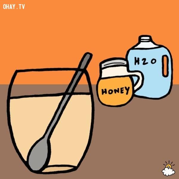 4. Dùng hỗn hợp nước+muối+mật ong để nhỏ mắt.,đau mắt đỏ,chữa đau mắt đỏ tại nhà