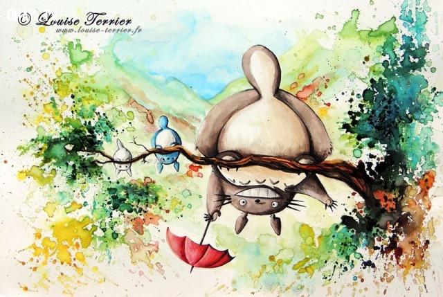 ,tranh màu nước đẹp,vẽ tranh màu nước,sáng tạo,Louise Terrier,phim hoạt hình Nhật Bản