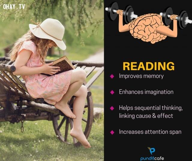 6. Đọc sách,sở thích giúp rèn luyện não,rèn luyện não bộ,rèn luyện trí não,luyện tập trí não,luyện tập não bộ
