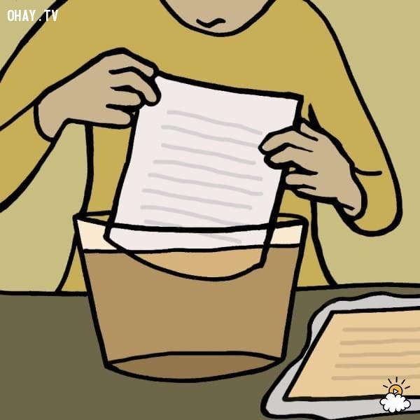 9. Nhuộm giấy,mẹo hay,tận dụng túi trà cũ