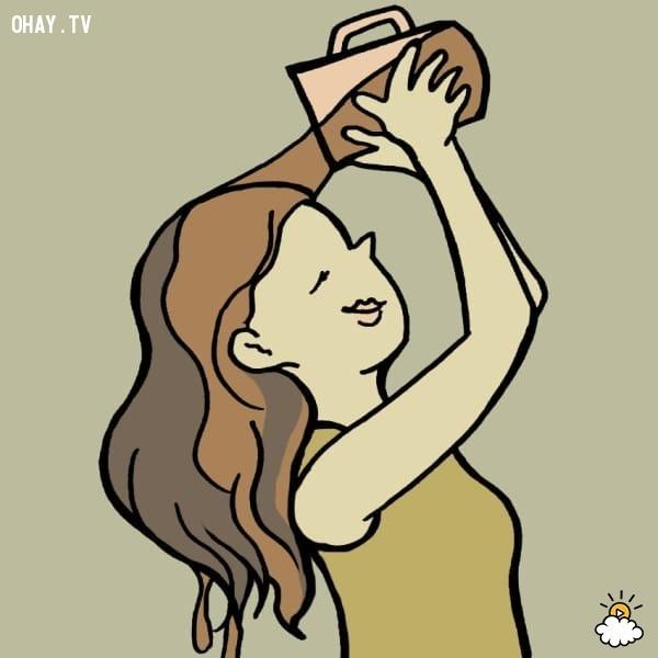 6. Làm tóc đen và bồng bềnh hơn.,mẹo hay,tận dụng túi trà cũ
