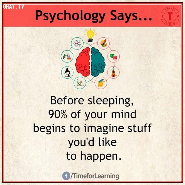1. Trước khi ngủ, 90% tâm trí bạn bắt đầu tưởng tượng những thứ mình muốn xảy ra.,sự thật thú vị,sự thật tâm lý học thí vị,tâm lý học,những điều thú vị trong cuộc sống,khám phá