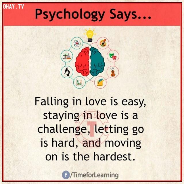 10. Rơi vào tình yêu thì dễ, ở lại trong tình yêu là một thử thách, buông tay thì khó và bước tiếp lại chính là điều khó khăn nhất.,sự thật thú vị,sự thật tâm lý học thí vị,tâm lý học,những điều thú vị trong cuộc sống,khám phá