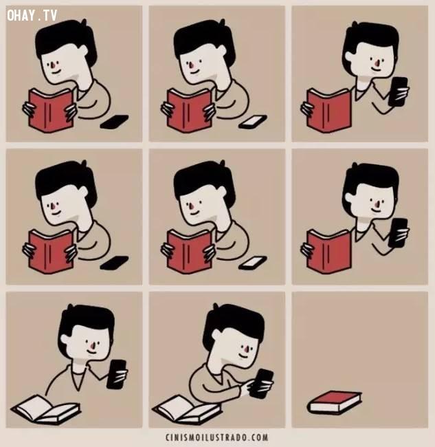 Trước đây một quyển sách có thể xem qua hết ngày, bây giờ một chiếc điện thoại qua cả ngày đêm,con người,thay đổi