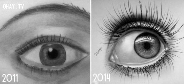 Hơn 3 năm trôi qua, bản vẽ đã sống động và giống thật hơn rất nhiều....,họa sĩ,bức tranh đẹp,sự kiên nhẫn
