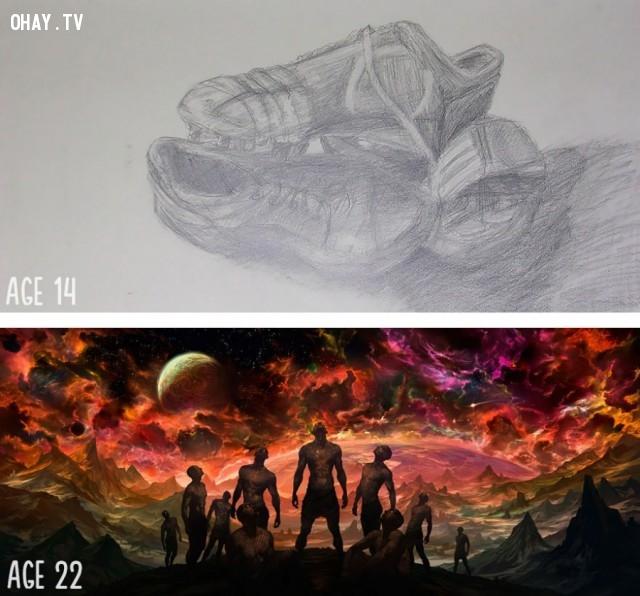 Sự tiến bộ trong 8 năm,họa sĩ,bức tranh đẹp,sự kiên nhẫn