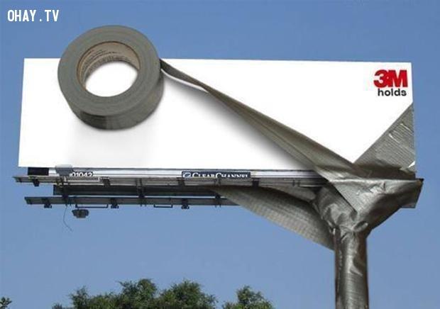 Một quảng cáo ấn tượng cho băng keo dính.,biển quảng cáo sáng tạo,tổng hợp,những biển quảng cáo