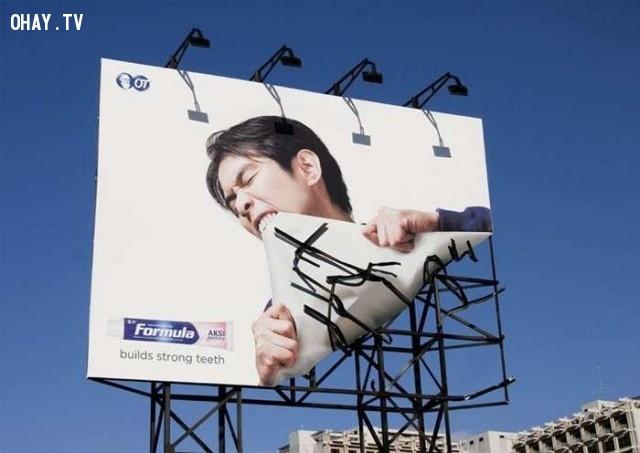 Răng cực chắc khỏe với một thương hiệu kem đánh răng thần thánh!,biển quảng cáo sáng tạo,tổng hợp,những biển quảng cáo