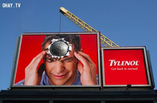 Bạn nghĩ đây là quảng cáo gì? Quảng cáo cho một loại thuốc chống đau đầu đấy!,biển quảng cáo sáng tạo,tổng hợp,những biển quảng cáo