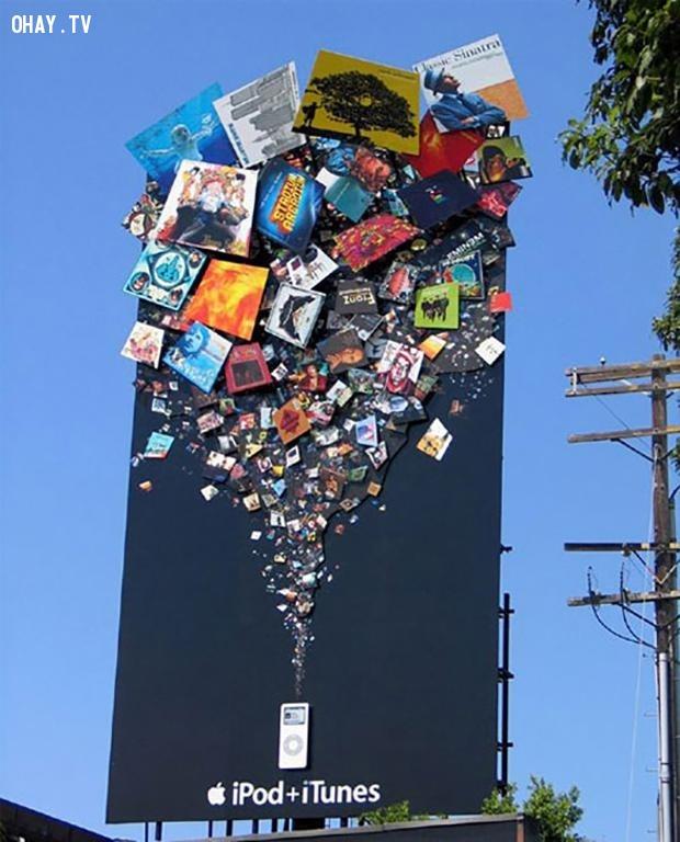Một quảng cáo của Apple dành cho iPod khi iPod vẫn trong thời hoàng kim của nó.,biển quảng cáo sáng tạo,tổng hợp,những biển quảng cáo