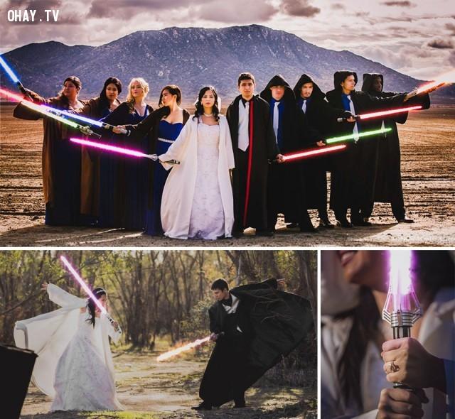 """Và đây là Chiến Tranh giữa các vì sao, giữa """"cô dâu và chú rể"""",ảnh cưới sáng tạo,ảnh cưới phá cách"""