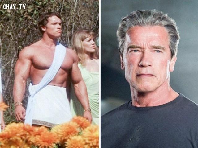 3. Arnold Schwarzenegger trong Hercules in New York (1969) và Terminator Genisys (2015),diễn viên nổi tiếng,vai diễn debut