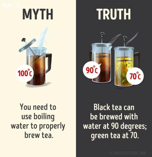 4. Dùng nước sôi 100 độ để pha trà mới đúng. Sự thật là có thể pha trà đen với nước sôi đến 90 độ và trà xanh với nước sôi đến 70 độ.,nhận thức sai lầm,các loại thức uống,khám phá,sự thật thú vị,những điều thú vị trong cuộc sống