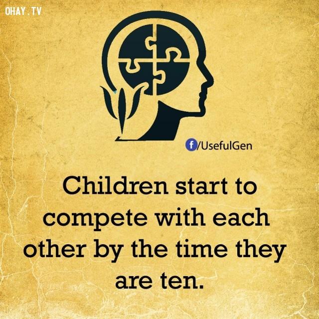 5. Trẻ con bắt đầu cạnh tranh với nhau khi chúng lên 10.,sự thật tâm lý học,sự thật thú vị,những điều thú vị trong cuộc sống,khám phá,có thể bạn chưa biết