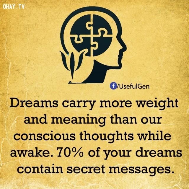 7. Những giấc mơ có tầm quan trọng và ý nghĩa hơn ý thức của chúng ta lúc đang thức. 70% giấc mơ của bạn có chứa thông điệp bí mật.,sự thật tâm lý học,sự thật thú vị,những điều thú vị trong cuộc sống,khám phá,có thể bạn chưa biết