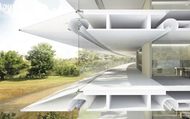 Khoảng 4.300 tấm bê tông khổng lồ có khe rỗng ở giữa cũng giúp tạo nên hệ thống thông gió tự nhiên.,khám phá,trụ sở Apple Campus 2,trụ sở hình đĩa bay của Apple