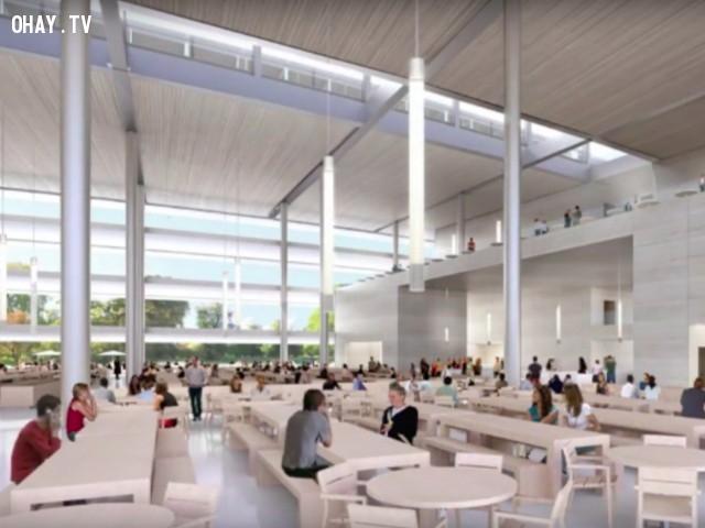 Trụ sở mới này chứa được hơn 12.000 nhân viên. Trụ sở này có diện tích 2,8 triệu mét vuông hoặc 176 mẫu Anh, nằm trong khuôn viên cũ của Hewlett Packard.,khám phá,trụ sở Apple Campus 2,trụ sở hình đĩa bay của Apple