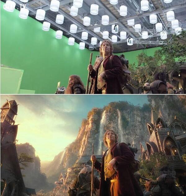Một cảnh trong trường quay The Hobbit và khi lên phim không thể nhận ra.,công nghệ cgi,phim bom tấn,xử lý hậu kỳ,hậu kỳ phim ảnh