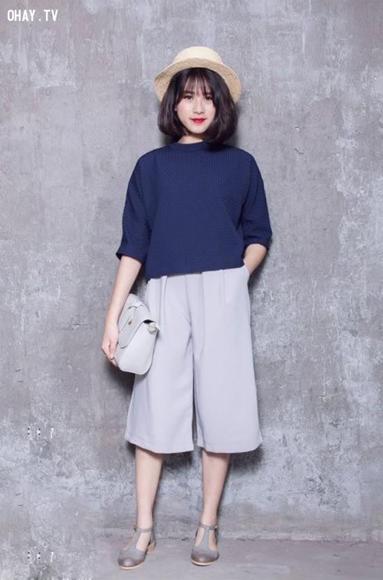 ,quần ống rộng,quần ngố culottes,thời trang,cách phối đồ