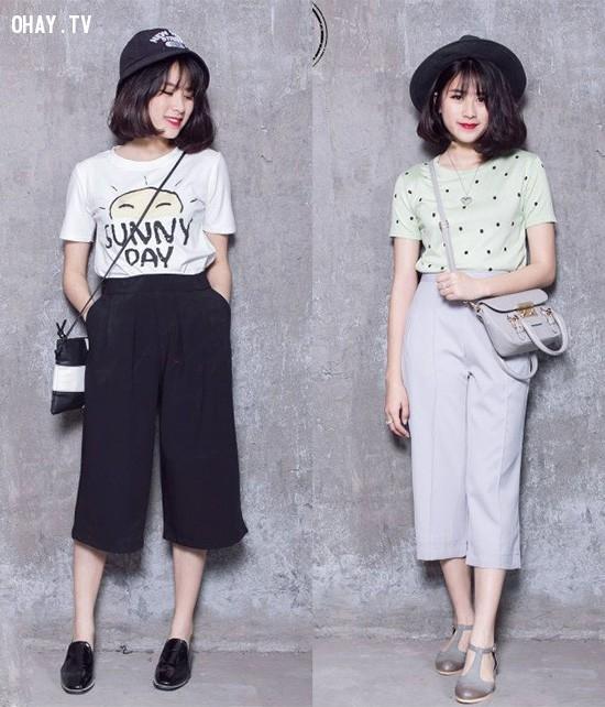 3. Mix đơn giản,quần ống rộng,quần ngố culottes,thời trang,cách phối đồ