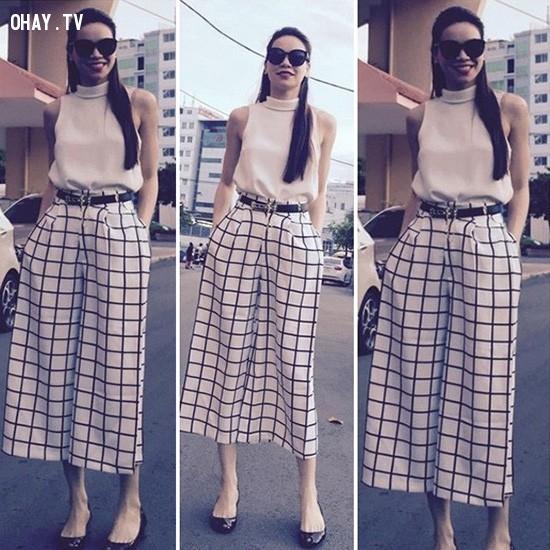 2. Rộng vừa đủ,quần ống rộng,quần ngố culottes,thời trang,cách phối đồ