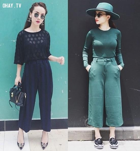 4. Diện màu đơn sắc,quần ống rộng,quần ngố culottes,thời trang,cách phối đồ