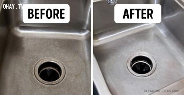 3. Rửa sạch bồn rửa bát,mẹo nhà bếp,mẹo vặt