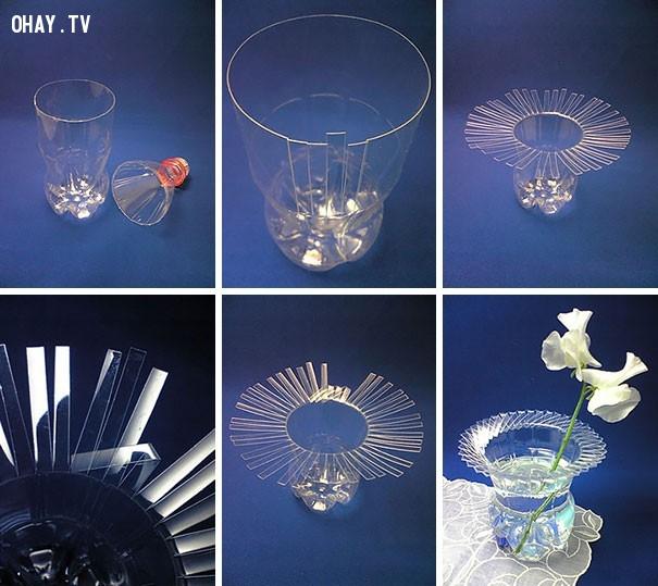 Lọ hoa sáng tạo,tận dụng đồ cũ,tái chế chai nhựa