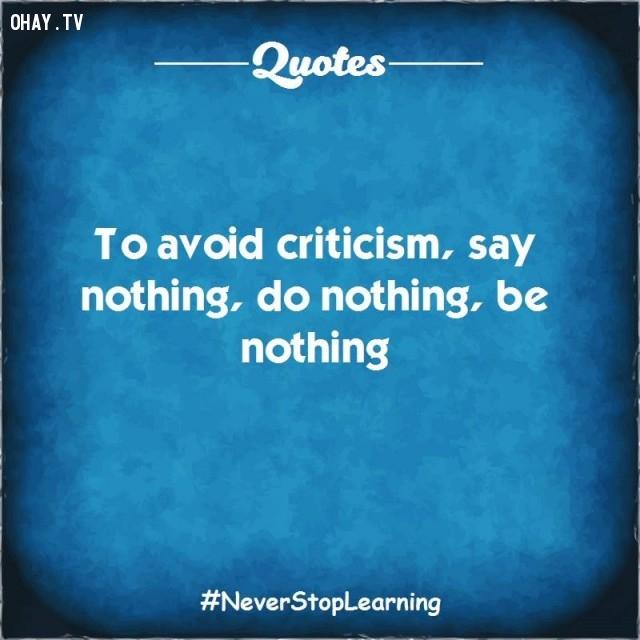 7. Để tránh những lời chỉ trích, không nói gì, không làm gì và chẳng là gì cả.,TRÍCH DẪN HAY VỀ CUỘC SỐNG,CÂU NÓI HAY VỀ CUỘC SỐNG,SUY NGẪM,BÀI HỌC CUỘC SỐNG