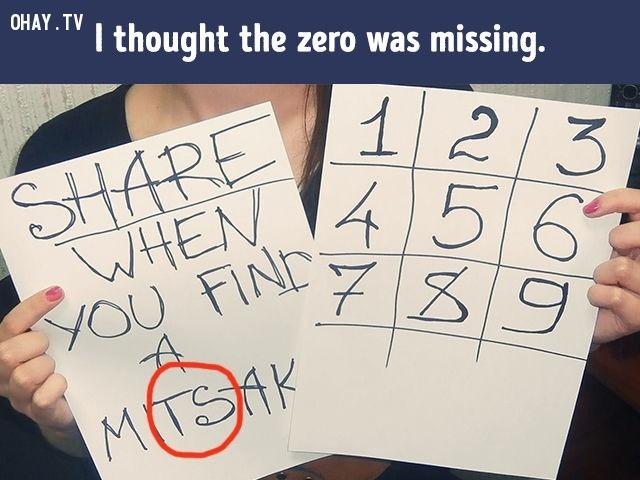 """4. Hãy share khi bạn tìm ra một lỗi (mistake). Lỗi ở chỗ vòng tròn đỏ. Chữ """"mistake"""" viết sai.,khác lạ,câu đố"""