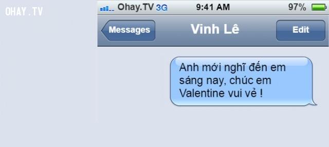 """""""Tớ vừa nghĩ đến bạn sáng nay, chúc Valentine vui vẻ!"""",thổ lộ tình cảm,tin nhắn tình yêu"""