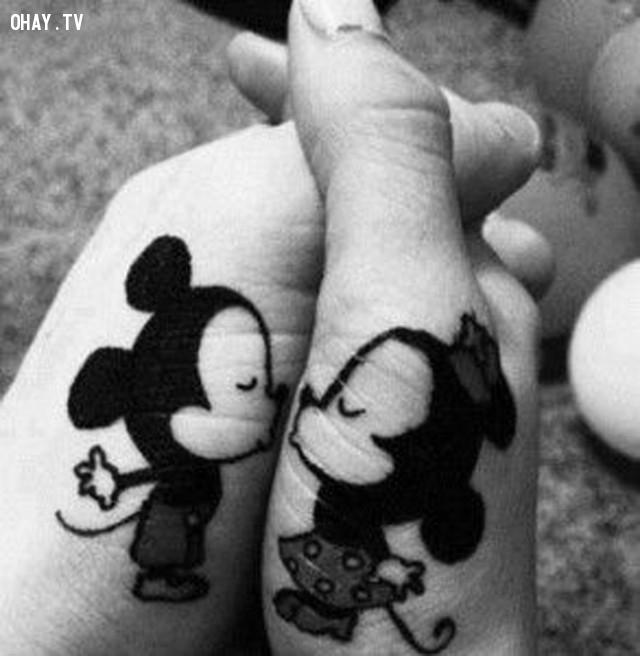 Mickey và Minnie,hình xăm,hình xăm đôi,hình xăm cặp