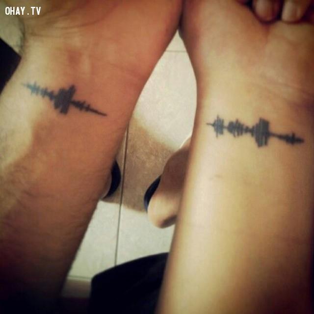 """Hình ảnh sóng mang ý nghĩa """"Anh yêu em/Em yêu anh"""",hình xăm,hình xăm đôi,hình xăm cặp"""
