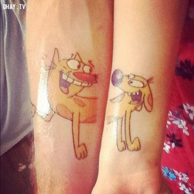 Chó và mèo,hình xăm,hình xăm đôi,hình xăm cặp