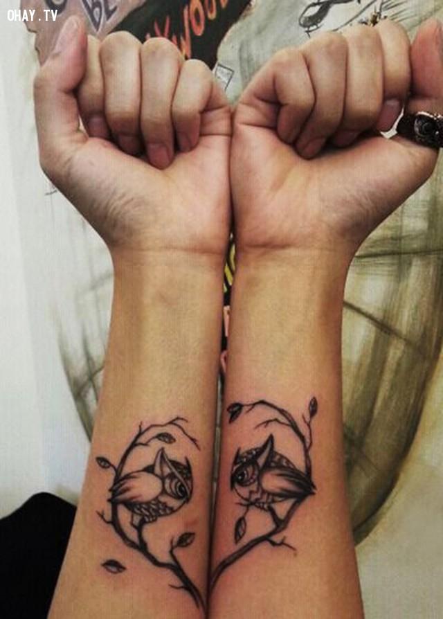 Hai nhánh cây tình yêu,hình xăm,hình xăm đôi,hình xăm cặp