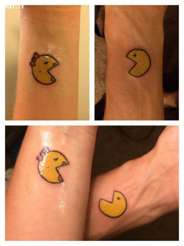 Cặp đôi Pac-man,hình xăm,hình xăm đôi,hình xăm cặp