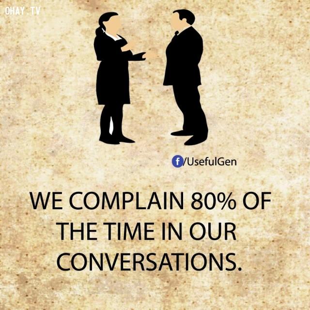 4. Chúng ta thường phàn nàn 80% thời gian trong các cuộc trò chuyện.,sự thật tâm lý học,sự thật thú vị,những điều thú vị trong cuộc sống,khám phá,có thể bạn chưa biết