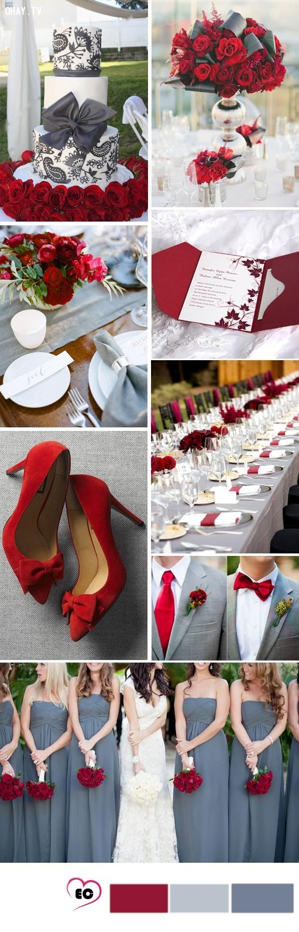 Đỏ rực cùng xám, sự nổi bật trên nền xám, một ý tưởng mới mẻ, ấm áp và rực rỡ sắc đỏ.,tổ chức đám cưới,màu sắc đám cưới,màu xám
