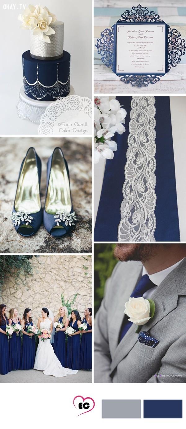 Xám kết hợp màu xanh hải quân, một màu sắc khác lạ, kết hợp với xám tạo nên sự trang trọng không thiếu phần lãng mạn trong một ngày cưới khó quên.,tổ chức đám cưới,màu sắc đám cưới,màu xám
