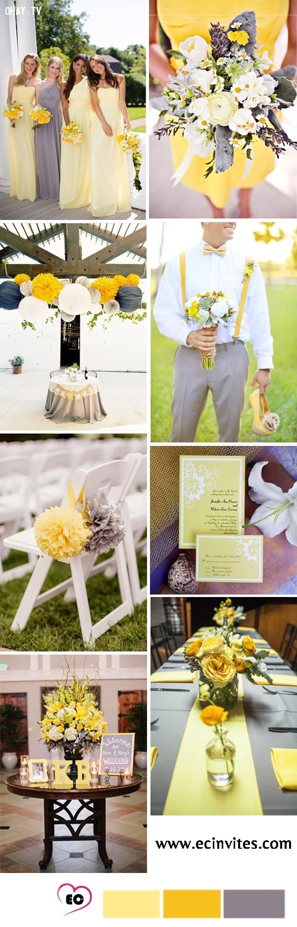 Xám kết hợp với màu vàng tươi, tạo nên một màu cưới nổi bật mà không thiếu phần ấn tượng.,tổ chức đám cưới,màu sắc đám cưới,màu xám