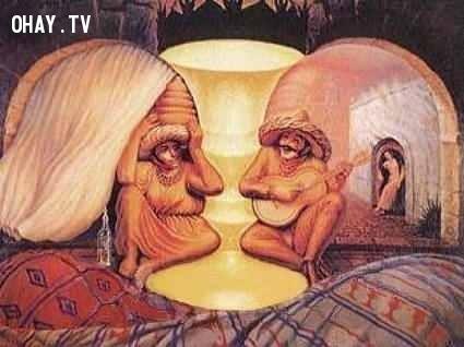 Đôi vợ chồng già,ảo giác,khuôn mặt,bức ảnh