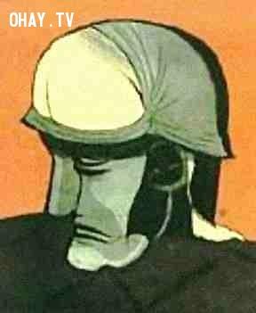 Khuôn mặt người lính và ảo ảnh người đàn ông cúi gập người,ảo giác,khuôn mặt,bức ảnh