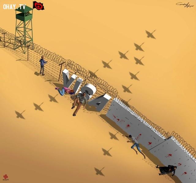 Chỉ có thể hóa thành chim mới có thể nhập cư mà không cần visa trong cuộc khủng hoảng di cư hiện nay.,mảng tối cuộc sống hiện đại,biếm họa sốc,Gunduz Agayev